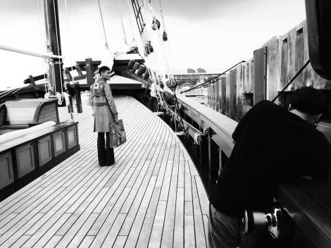 Fashion shoot on luxury superyacht